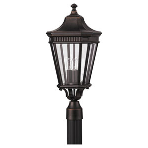 Cotswold Lane Grecian Bronze Outdoor Three-Light Post Light - Width 9.5 Inches