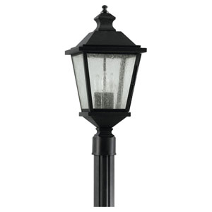Woodside Hills Black Outdoor Three-Light Post Light