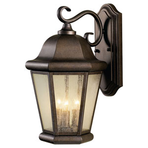 Martinsville Corinthian Bronze Three-Light Outdoor Wall Lantern Light