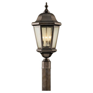 Martinsville Corinthian Bronze Three-Light Post Light