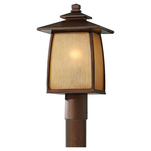 Wright House Sorrel Brown Outdoor Post Light - Width 9 Inches