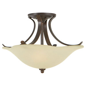 Morningside Grecian Bronze Two-Light Indoor Semi-Flush Mount Fixture