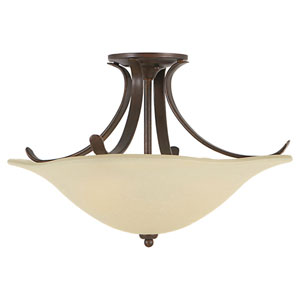 Morningside Grecian Bronze Three-Light Indoor Semi-Flush Mount Fixture