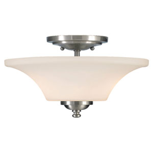 Barrington Brushed Steel  Two-Light Indoor Semi-Flush Mount Fixture