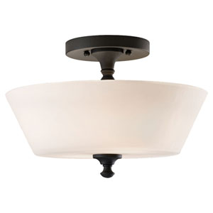 Peyton Black Two-Light Indoor Semi-Flush Mount Fixture