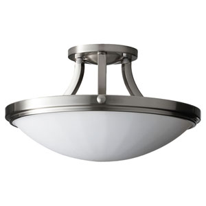 Perry Brushed Steel Two-Light Indoor Semi-Flush Mount Fixture