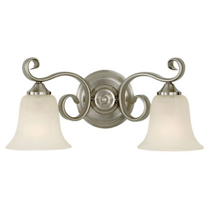 Vista Brushed Steel Two-Light Vanity Fixture