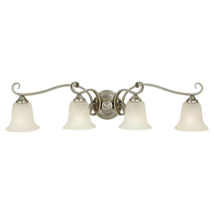 Vista Brushed Steel Four-Light Vanity Fixture
