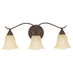 Morningside Grecian Bronze Three-Light Vanity Fixture