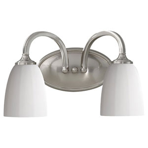 Perry Brushed Steel Two-Light Vanity Fixture