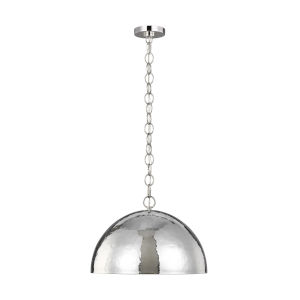 Whare Polished Nickel 24-Inch One-Light Title 24 Hammered Pendant