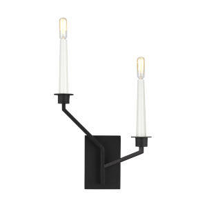 Hopton Midnight Black Two-Light Title 24 Left Double Bath Sconce