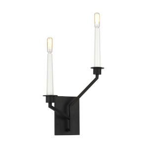 Hopton Midnight Black Two-Light Title 24 Right Double Bath Sconce