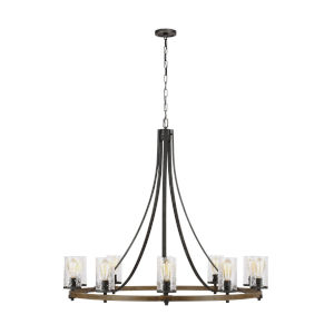 Angelo Distressed Weathered Oak and Slate Gray Metal 48-Inch 10-Light Chandelier