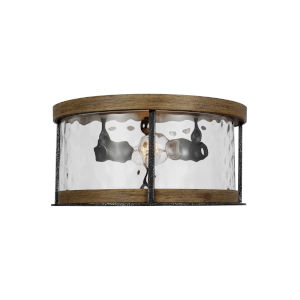 Angelo Distressed Weathered Oak and Slate Gray Metal 14-Inch Two-Light Flush Mount