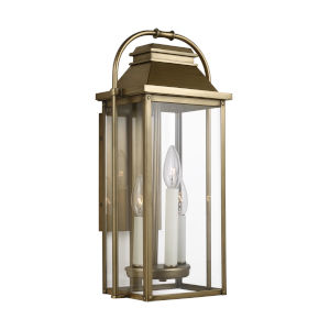 Wellsworth Painted Distressed Brass Nine-Inch Three-Light Outdoor Wall Lantern
