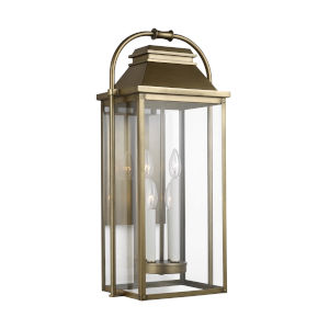 Wellsworth Painted Distressed Brass 13-Inch Four-Light Outdoor Wall Lantern
