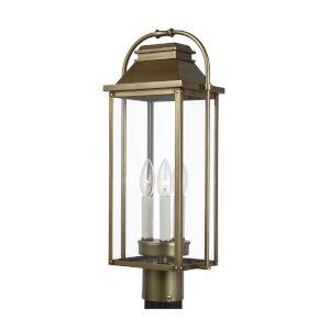 Wellsworth Painted Distressed Brass Nine-Inch Three-Light Post Lantern