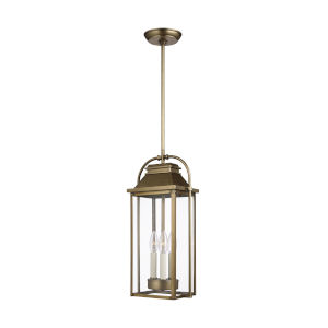 Wellsworth Painted Distressed Brass Nine-Inch Three-Light Outdoor Mini Pendant