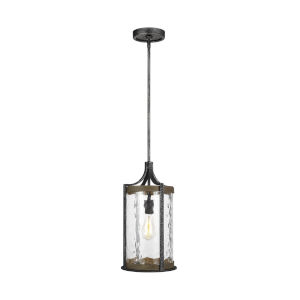Angelo Distressed Weathered Oak and Slate Gray Metal 10-Inch One-Light Mini Pendant