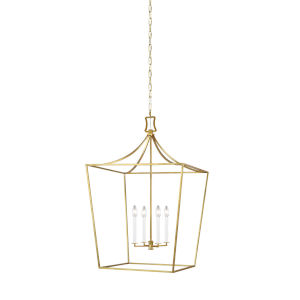 Southold Burnished Brass 24-Inch Four-Light Chandelier