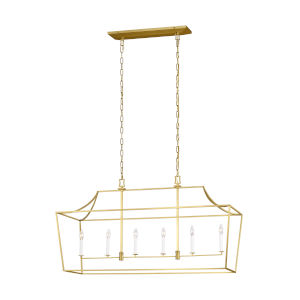 Southold Burnished Brass 17-Inch Six-Light Chandelier