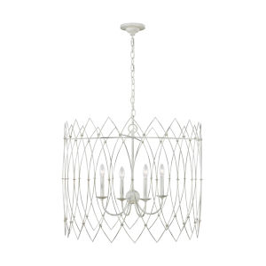 Gardner Rustic White 31-Inch Four-Light Chandelier