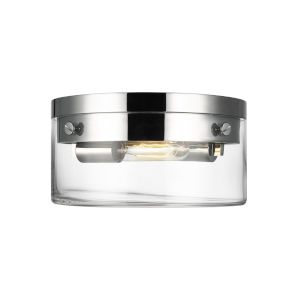Garrett Polished Nickel 11-Inch Two-Light Flush Mount