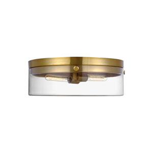 Garrett Burnished Brass Two-Light Flush Mount