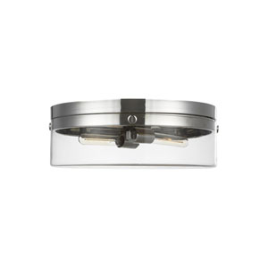 Garrett Polished Nickel Two-Light Flush Mount