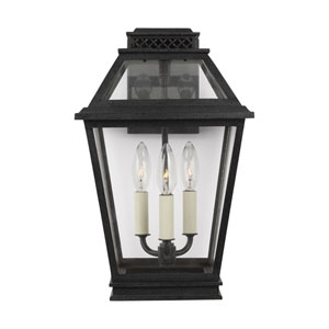 Falmouth Dark Weathered Zinc Three-Light Outdoor Wall Sconce