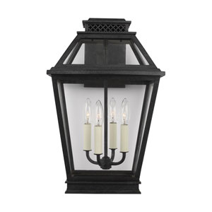 Falmouth Dark Weathered Zinc 12-Inch Four-Light Outdoor Wall Sconce