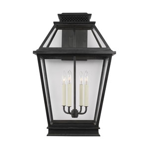 Falmouth Dark Weathered Zinc 16-Inch Four-Light Outdoor Wall Sconce