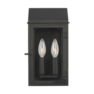 Hingham Textured Black Seven-Inch Two-Light Outdoor Wall Sconce
