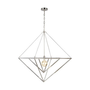 Carat Polished Nickel 30-Inch One-Light Pendant