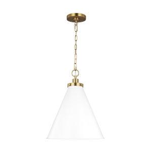 Wellfleet Matte White and Gold 19-Inch One-Light Pendant