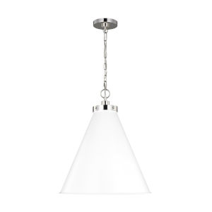 Wellfleet Matte White and Silver 20-Inch One-Light Pendant