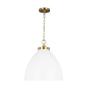 Wellfleet Matte White and Gold 18-Inch One-Light Pendant