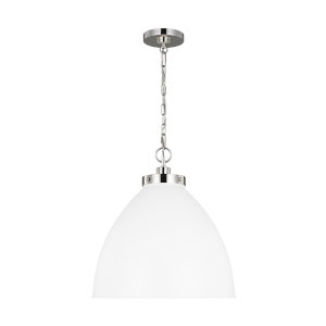 Wellfleet Matte White and Silver 18-Inch One-Light Pendant