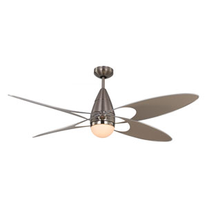 Butterfly Brushed Steel One-Light 54-Inch Outdoor Ceiling Fan