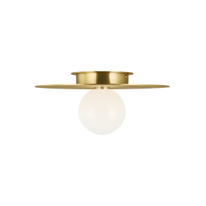Nodes Burnished Brass 14-Inch One-Light Flush Mount