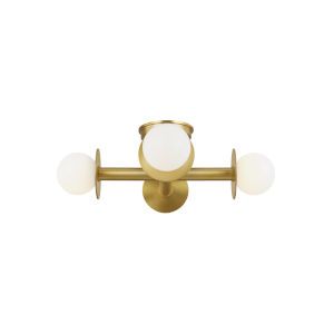 Nodes Burnished Brass Four-Light Flush Mount
