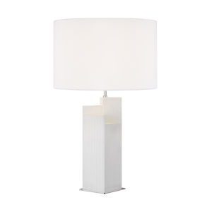 Portman Arctic White And Polished Nickel Two-Light LED Table Lamp