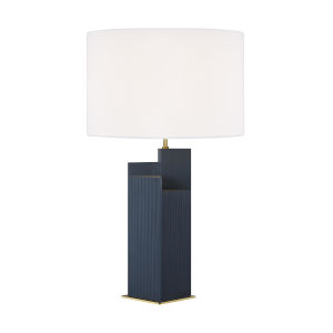 Portman Royal Blue And Burnished Brass 17-Inch Two-Light LED Table Lamp