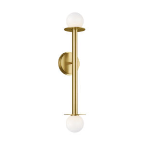 Nodes Burnished Brass Two-Light Bath Wall Sconce