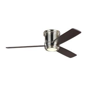 Aerotour Semi-Flush Polished Nickel with Dark Mahogany Blades 56-Inch LED Hugger Ceiling Fan