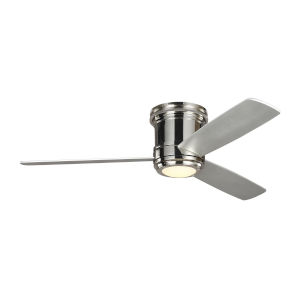 Aerotour Semi-Flush Polished Nickel with Grey Blades 56-Inch LED Hugger Ceiling Fan