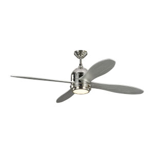 Metrograph Polished Nickel with Grey Blades 56-Inch LED Ceiling Fan