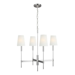 Beckham Classic Polished Nickel 26-Inch Four-Light Chandelier