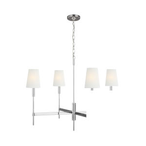 Beckham Classic Polished Nickel 36-Inch Four-Light Chandelier